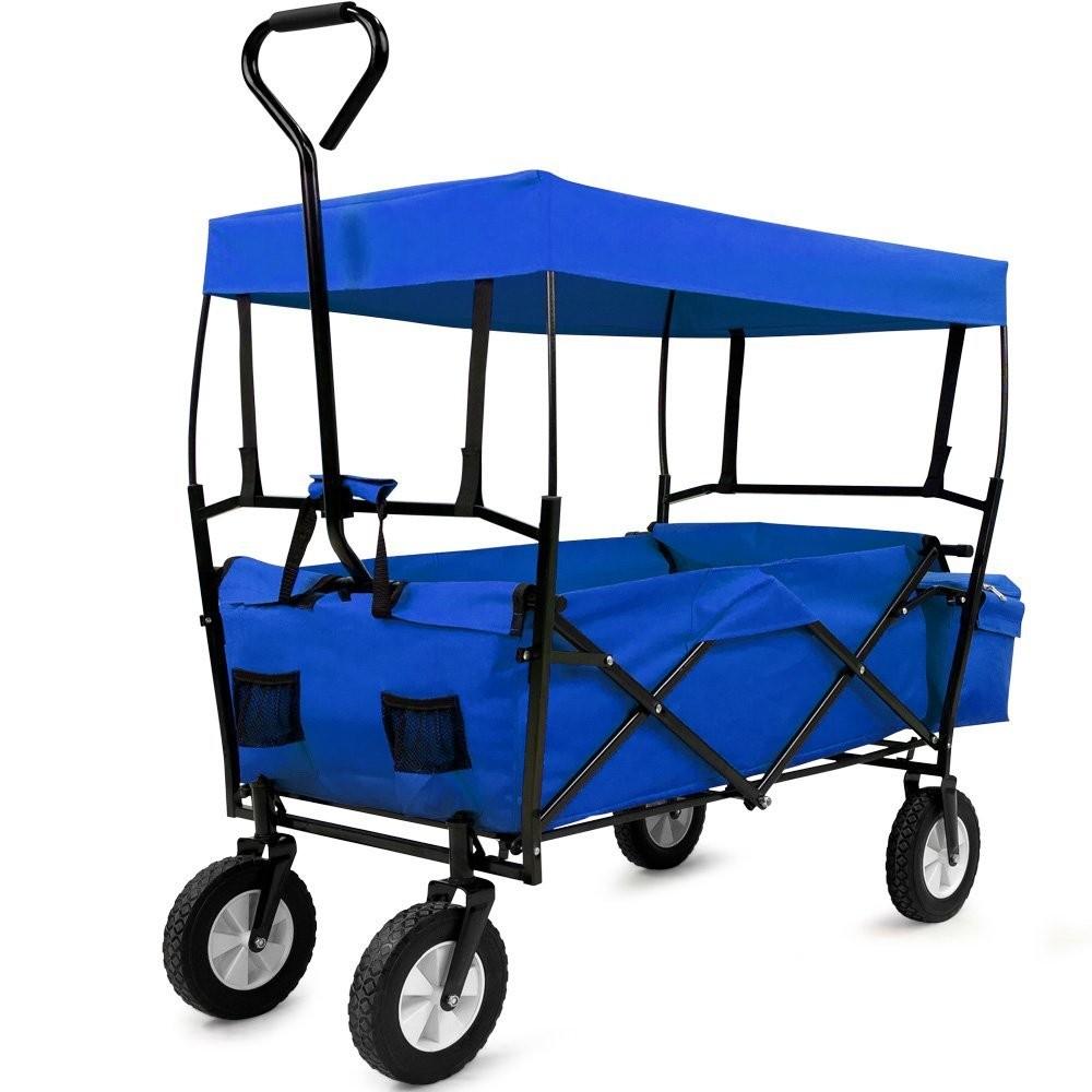 Zahradní přepravní vozík skládací se stříškou a taškou černý / modrý