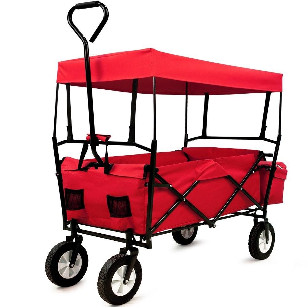 Goleto Zahradní přepravní vozík skládací se stříškou a taškou černý / červený