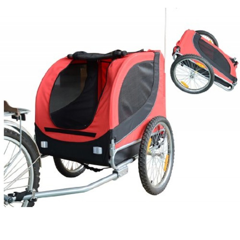 Přívěsný vozík za kolo pro psa | červeno-černý
