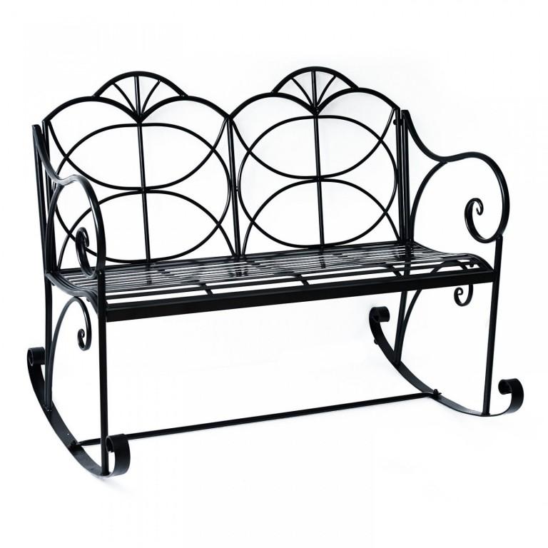 Zahradní houpací lavička kovová   černá