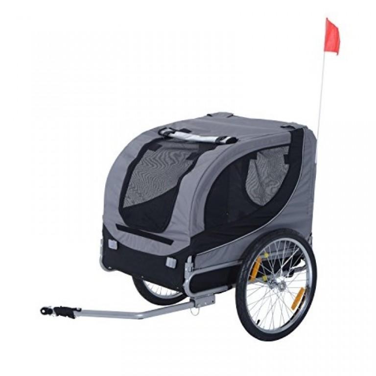 Přívěsný vozík za kolo pro psa | šedo-černý