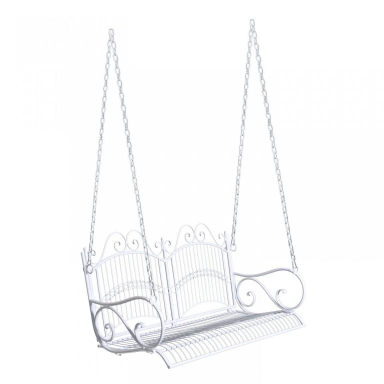 Zahradní závěsná lavička kovová | bílá