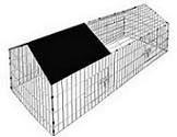 Goleto Kovový výběh pro králíky, morčata a jiné hlodavce 180 x 75 x 75 cm | černá stříška