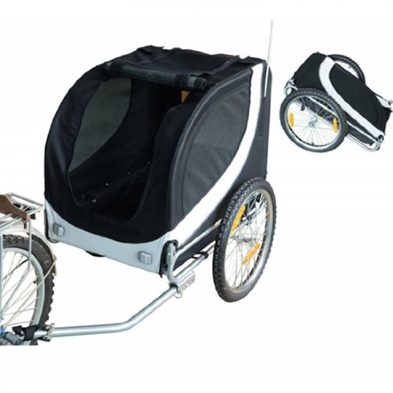 Přívěsný vozík za kolo pro psa 78 x 73 x 94 cm bílo-černý