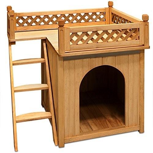 Dřevěná bouda pro psa s balkonem a schůdky