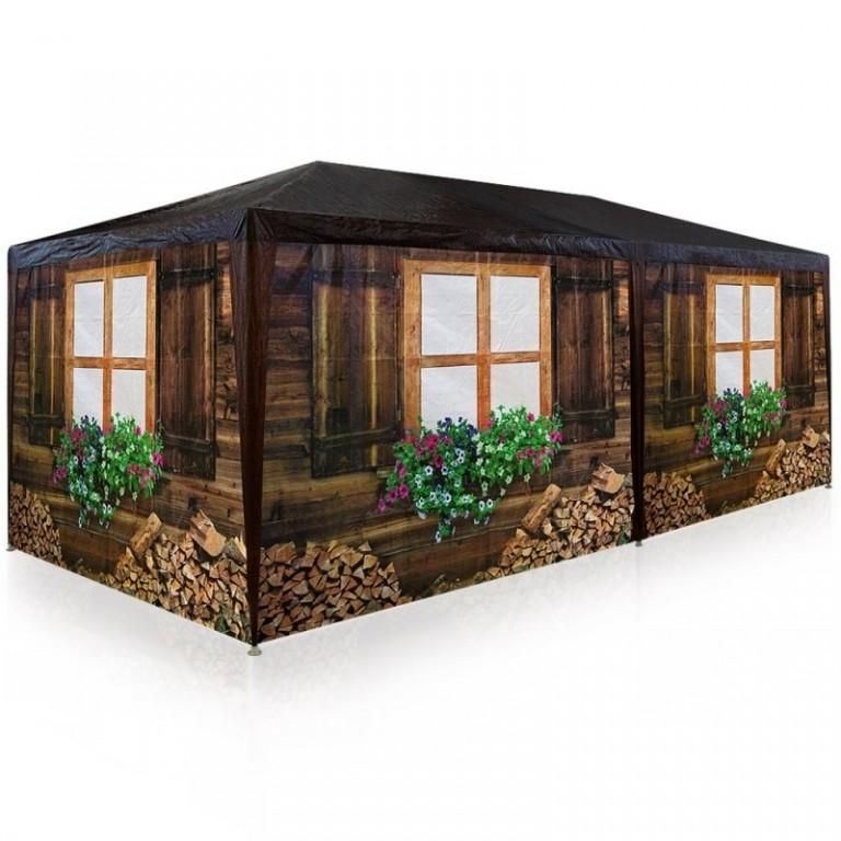 Zahradní párty stan 6 x 3 m s 6 bočnicemi | styl horská chata