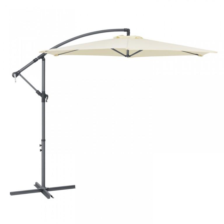 Zahradní slunečník s boční nohou a klikou Ø 300 cm | krémový