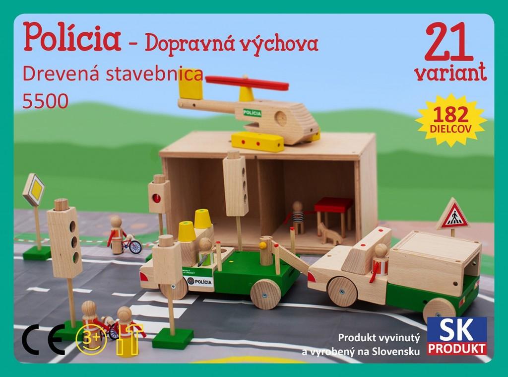 Dřevěná stavebnice Policie - dopravní výchova Moy Toy