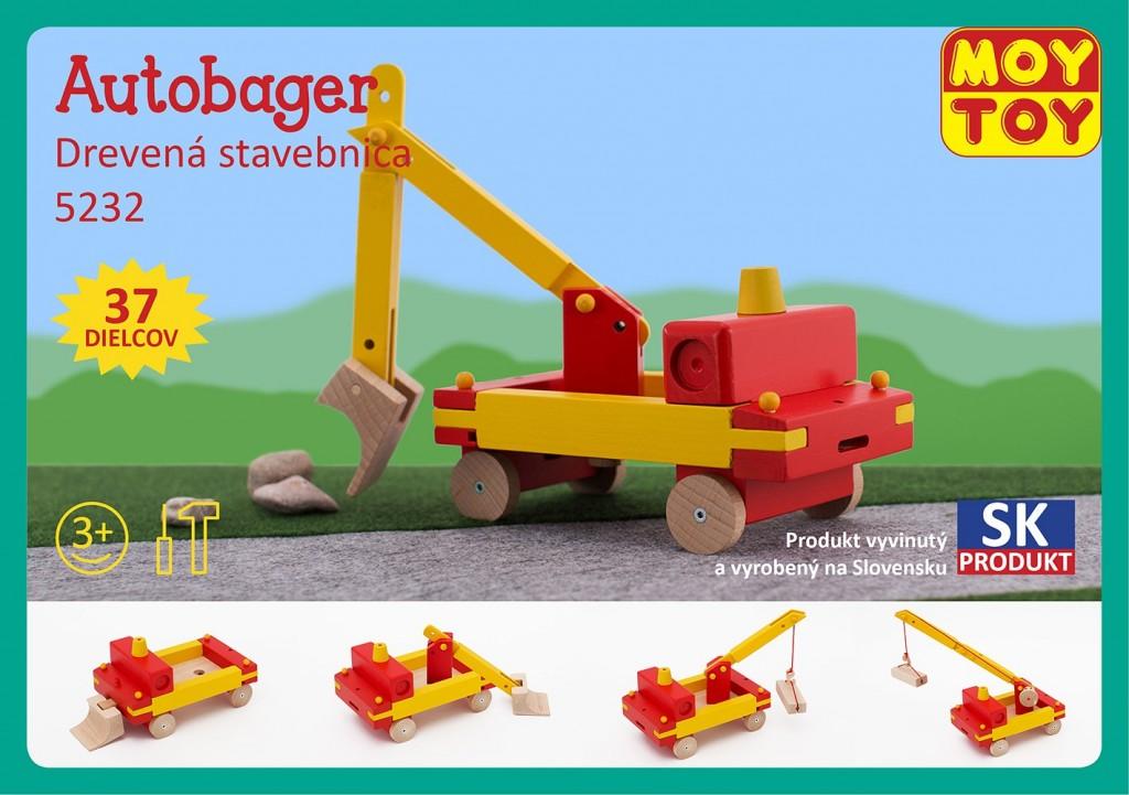 Dřevěná stavebnice Autobagr Moy Toy