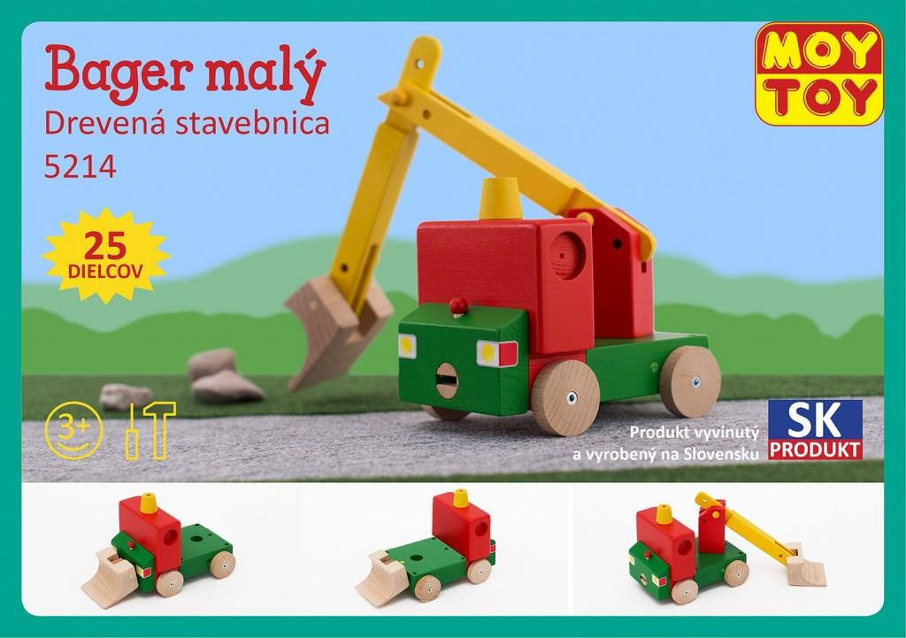 Dřevěná stavebnice Malý bagr Moy Toy