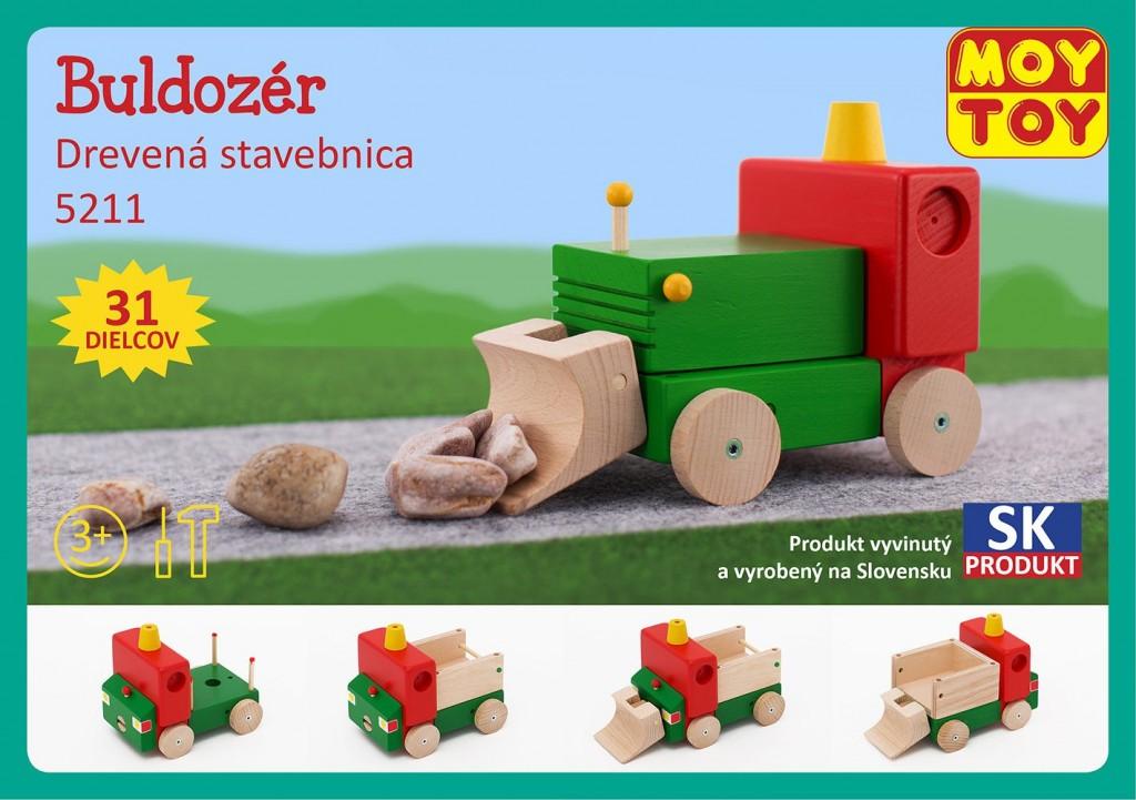 Dřevěná stavebnice Buldozer Moy Toy