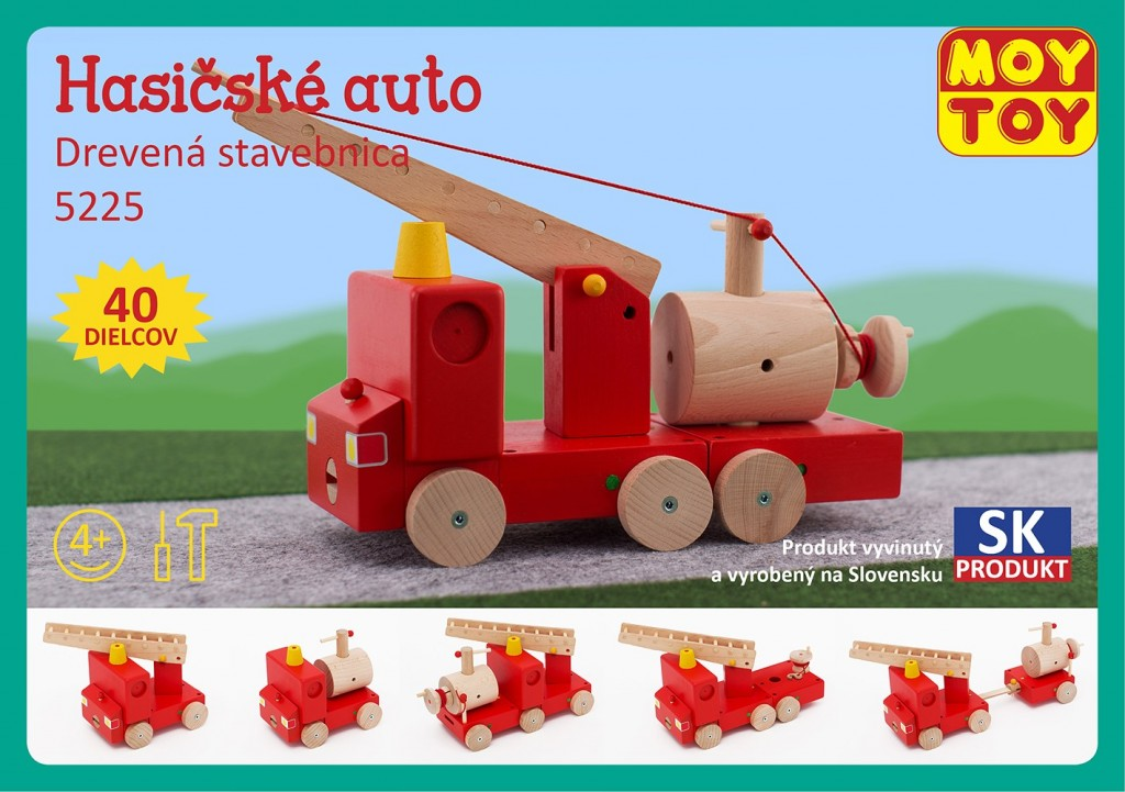 Dřevěná stavebnice Hasičské auto Moy Toy
