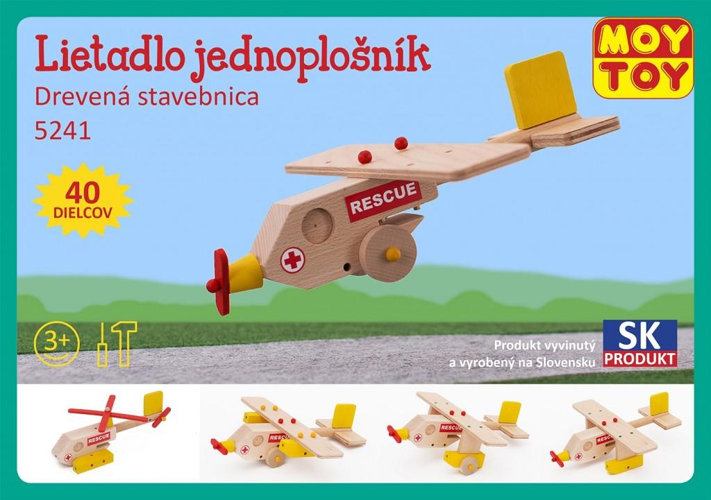 Dřevěná stavebnice Letadlo jednoplošník Moy Toy