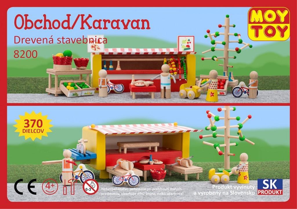 Dřevěná stavebnice Obchod karavan Moy Toy