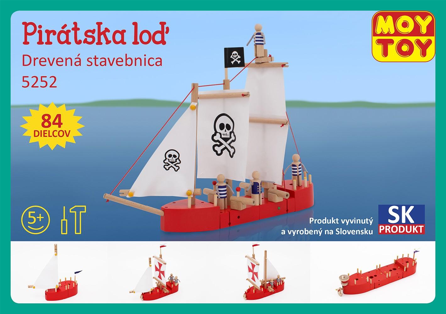 Moy Toy Dřevěná stavebnice Pirátská loď Moy Toy