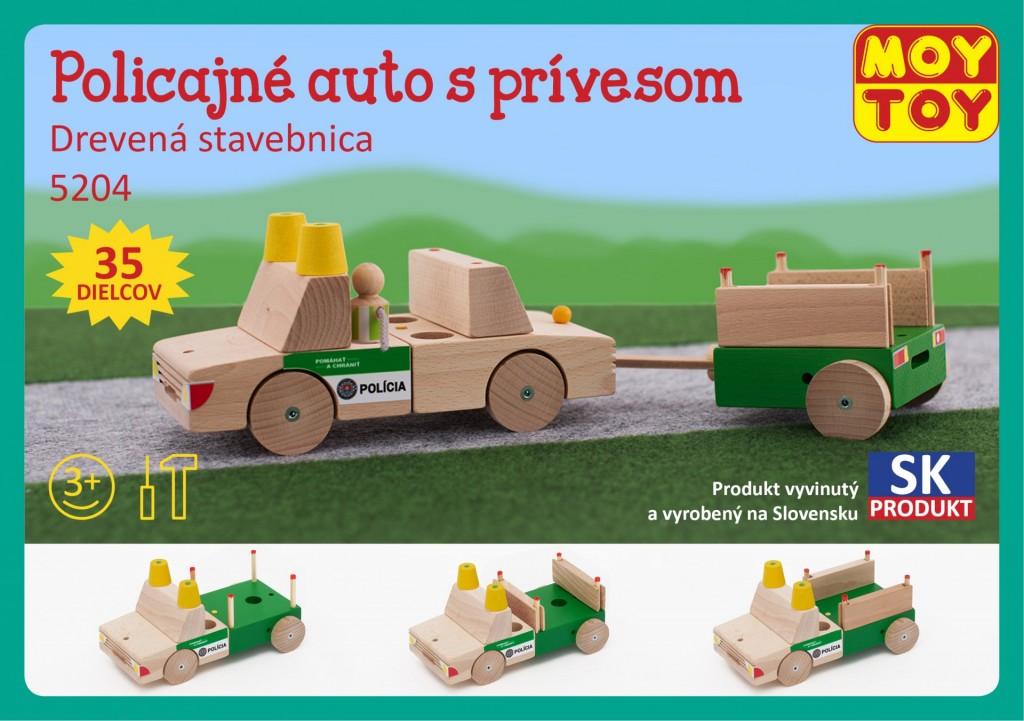 91cd86c2e5a Dřevěná stavebnice Policejní auto s přívěsem Moy Toy