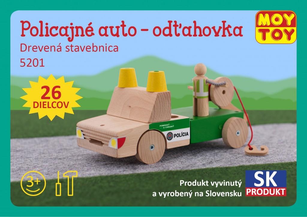 Dřevěná stavebnice Policejní auto - odtahovka Moy Toy