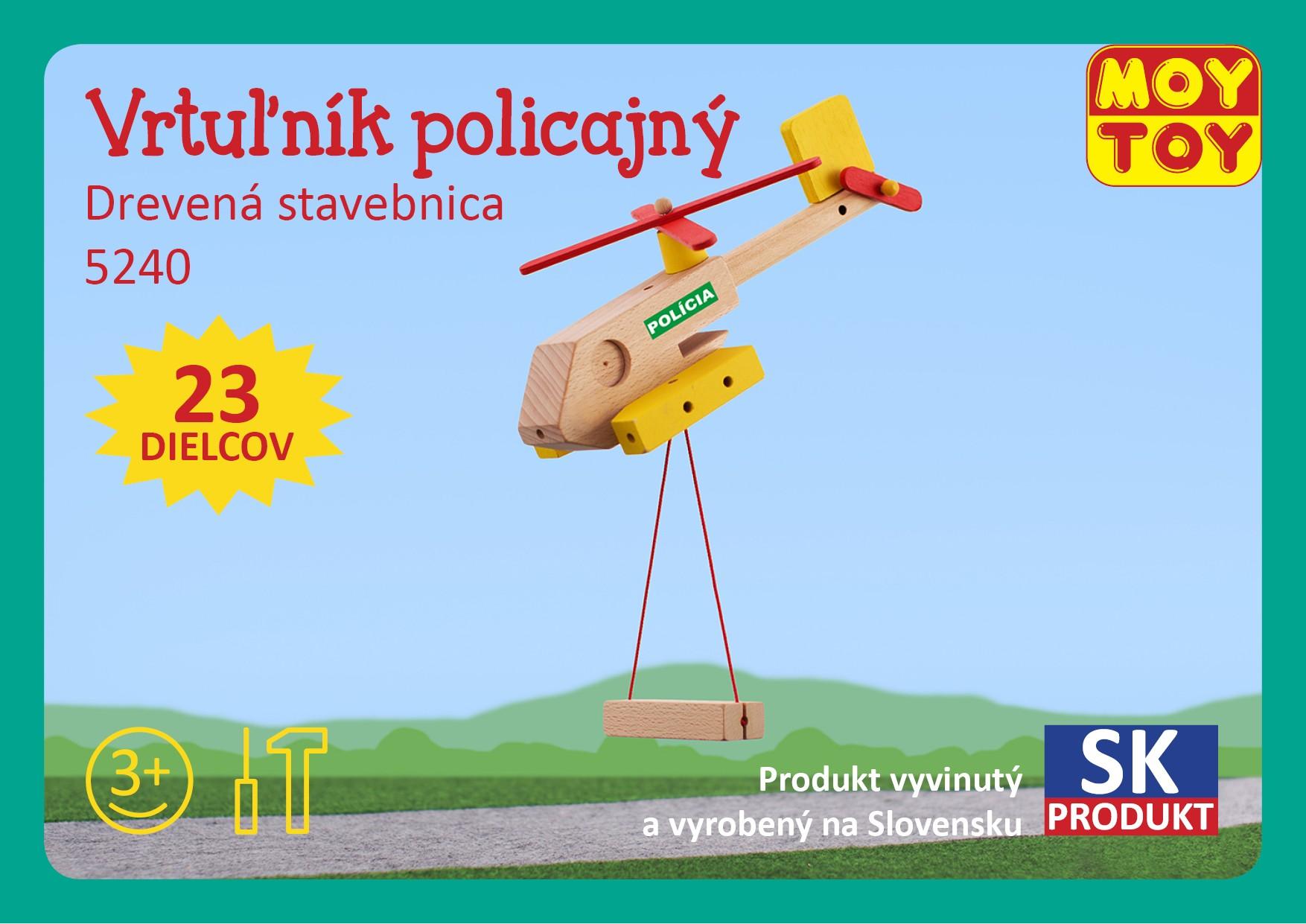 Moy Toy Dřevěná stavebnice Policejní vrtulník Moy Toy