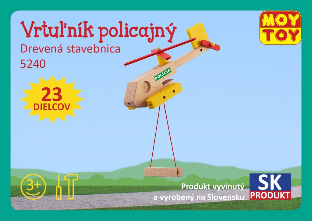 Dřevěná stavebnice Policejní vrtulník Moy Toy