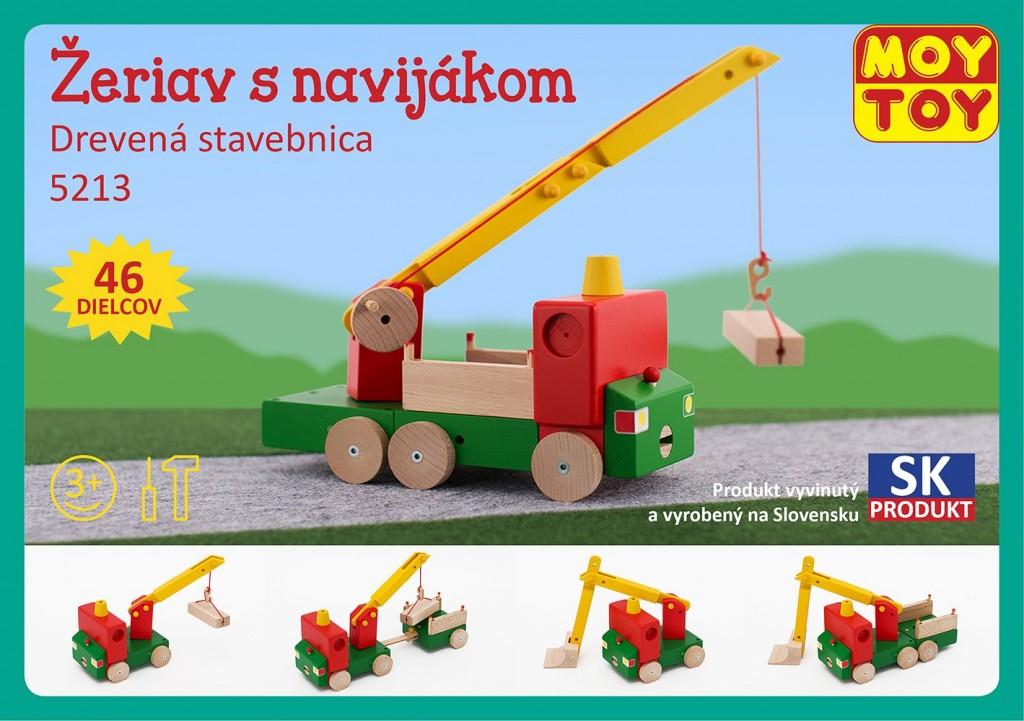 7e7d9b02ff8 Dřevěná stavebnice Jeřáb s navijákem Moy Toy