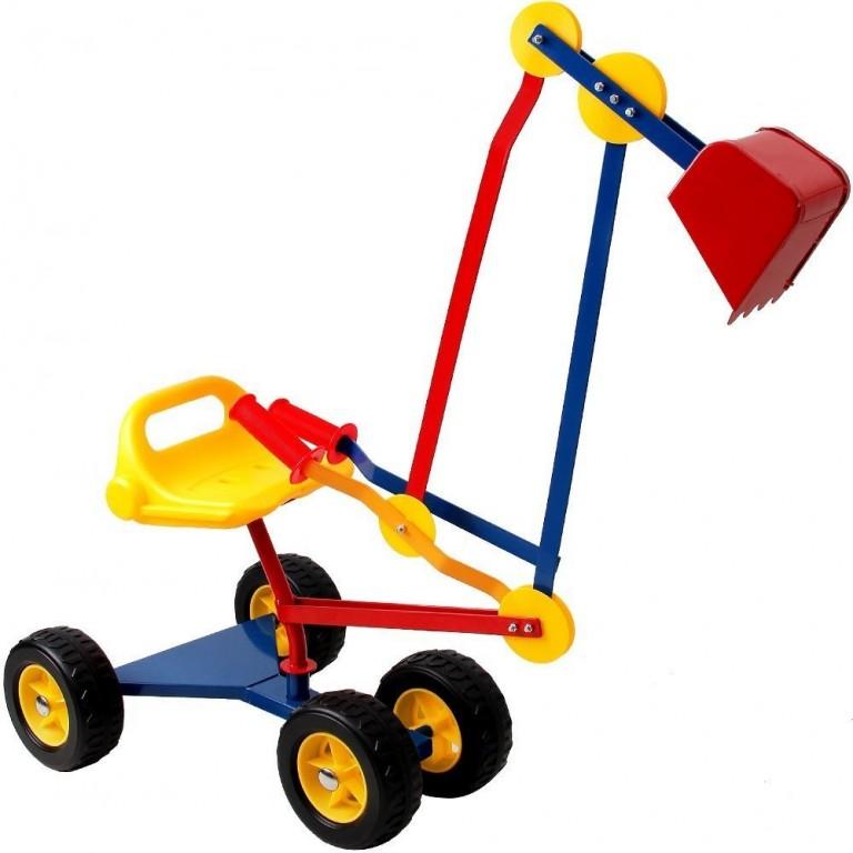Dětský kovový bagr na písek s kolečky | barevný