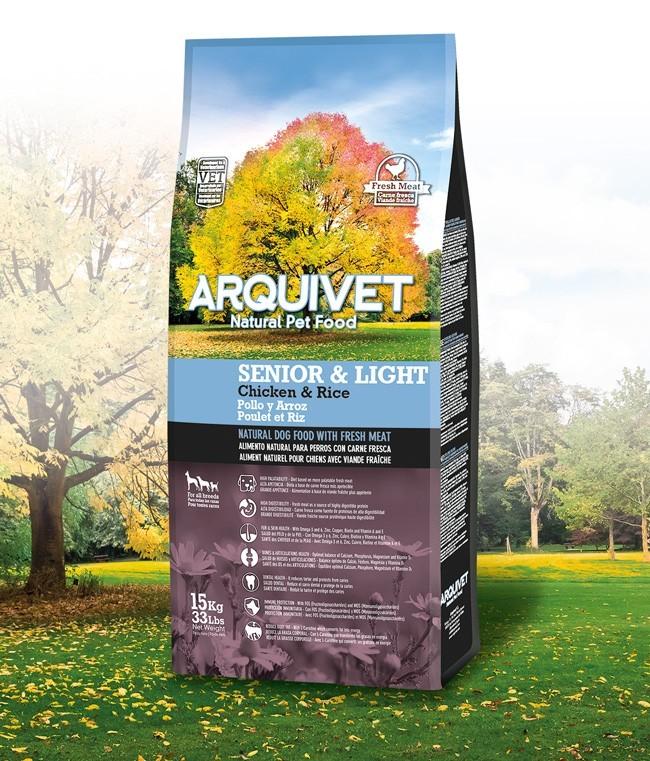 Arquivet Dog Senior Light 15 kg | čerstvé kuřecí maso s rýží