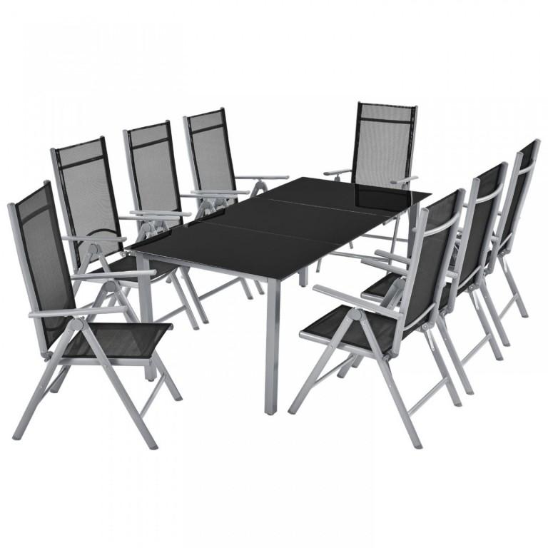Zahradní hliníková sestava Mailand | stůl + 8 židlí
