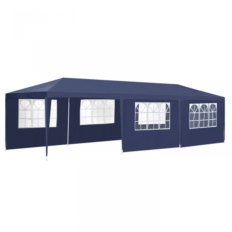 Zahradní párty stan 9 x 3 m s 8 bočnicemi | modrý