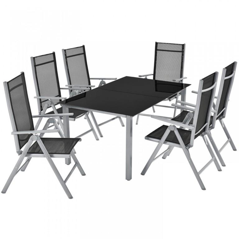 Zahradní hliníková sestava Mailand | stůl + 6 židlí