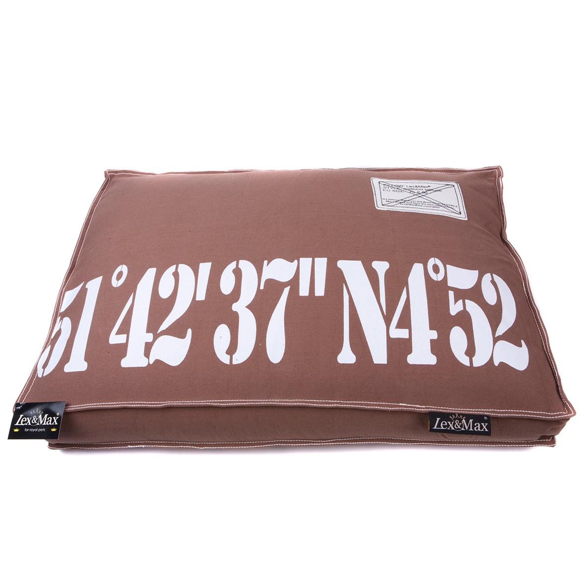 Levně Lex & Max Luxusní potah na pelíšek pro psa Lex & Max Number 120 x 80 cm   hnědý