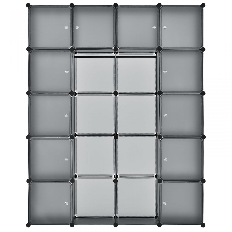 Goleto Variabilní regálový systém na boty 140 x 35 x 175 cm | 20 boxů šedý