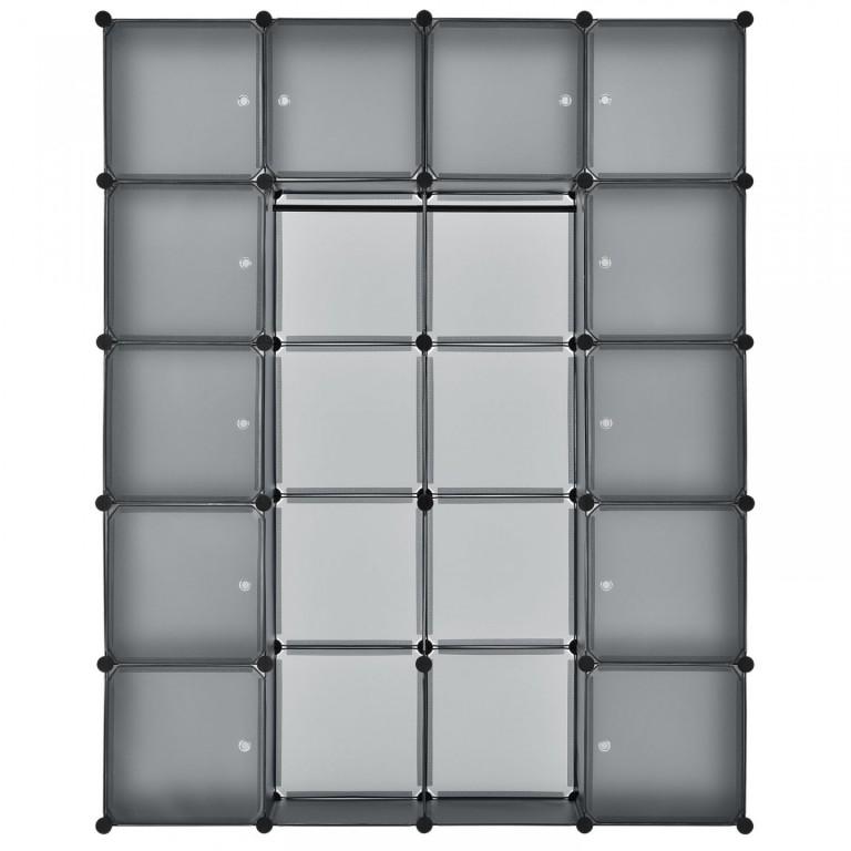 Variabilní regálový systém na boty 140 x 35 x 175 cm | 20 boxů šedý