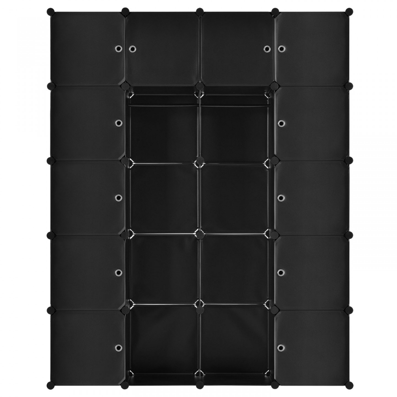 Goleto Variabilní regálový systém na boty 140 x 35 x 175 cm | 20 boxů černý