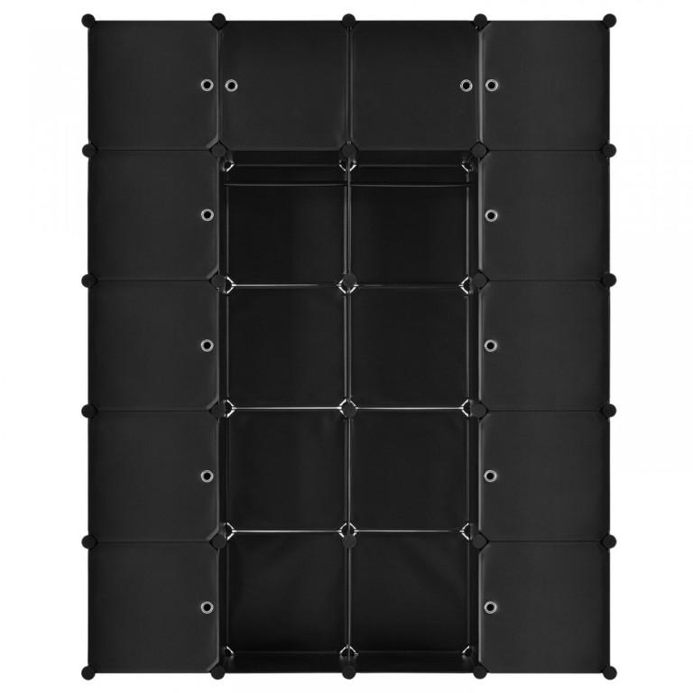 Variabilní regálový systém na boty 140 x 35 x 175 cm | 20 boxů černý