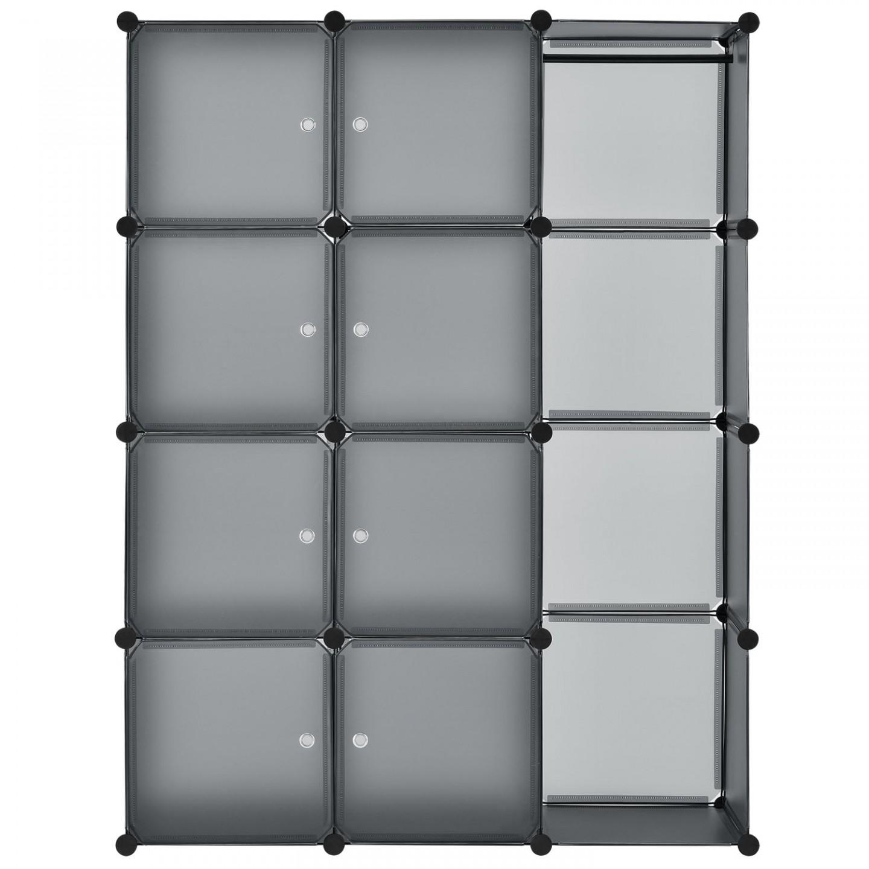 Goleto Variabilní regálový systém na boty 105 x 35 x 140 cm | 12 boxů šedý