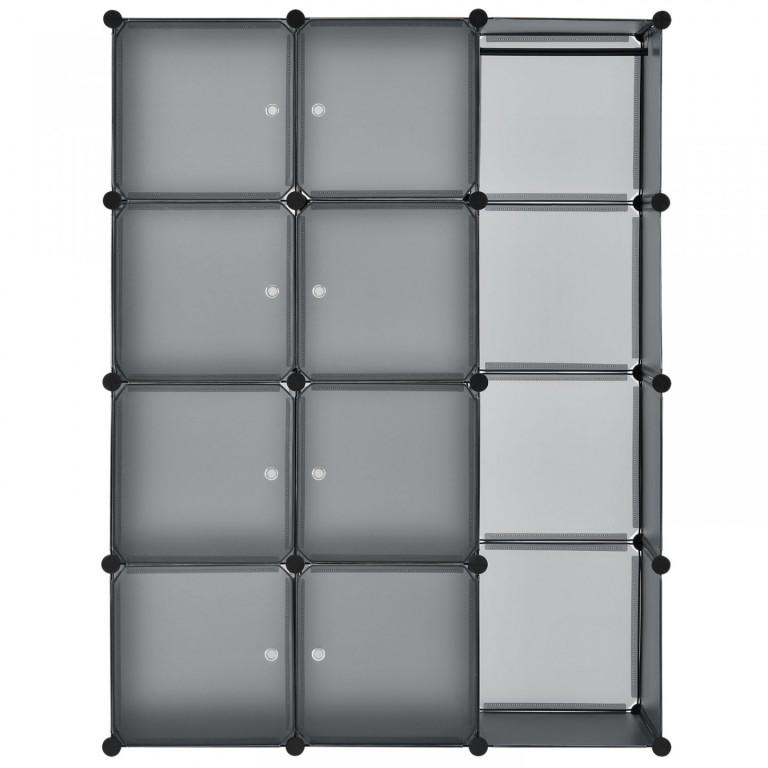 Variabilní regálový systém na boty 105 x 35 x 140 cm   12 boxů šedý