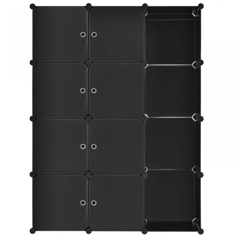 Variabilní regálový systém na boty 105 x 35 x 140 cm   12 boxů černý