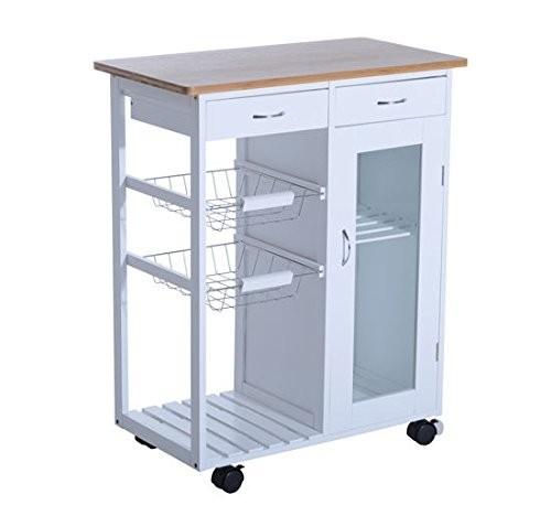 Pojízdná kuchyňská skříňka Amelia | bílá