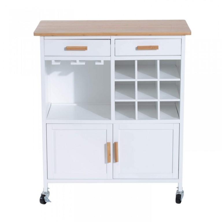 Pojízdná kuchyňská skříňka Amanda | bílá