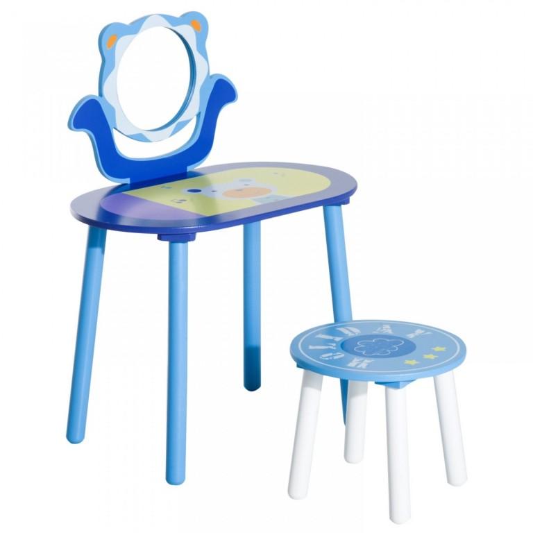 Dětský toaletní stolek se zrcadlem | modrý