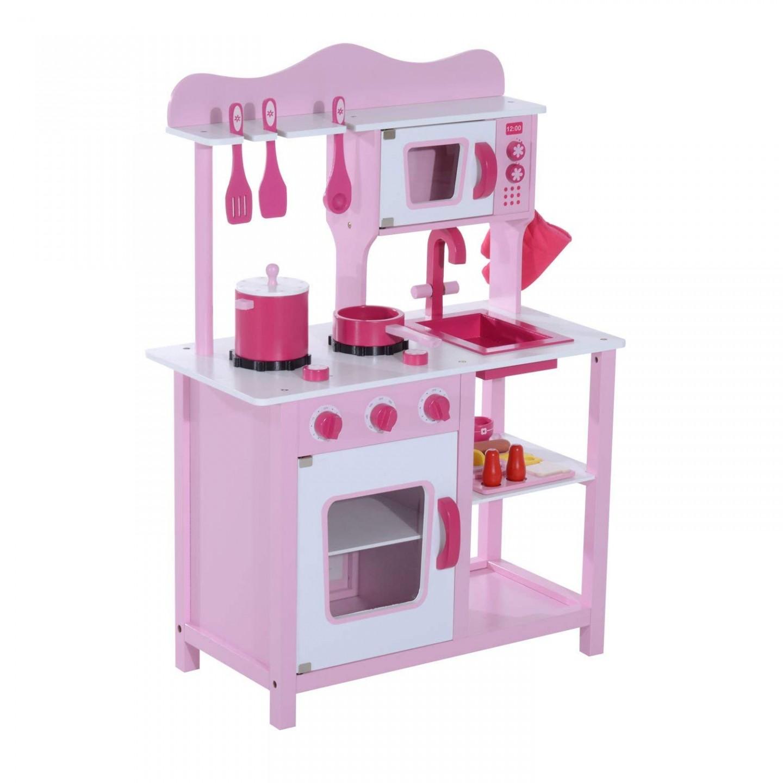 Goleto Dětská dřevěná kuchyňka s příslušenstvím | růžová