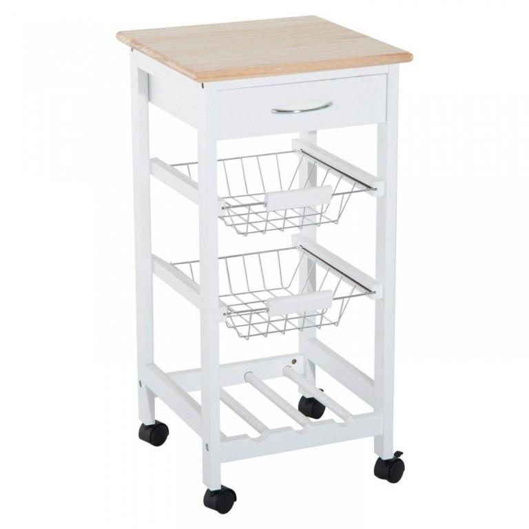 Pojízdná kuchyňská skříňka Roslin | bílá