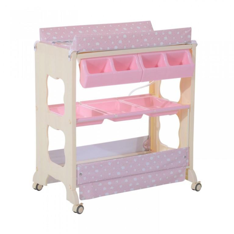 Přebalovací pult pro panenky s vaničkou | růžový