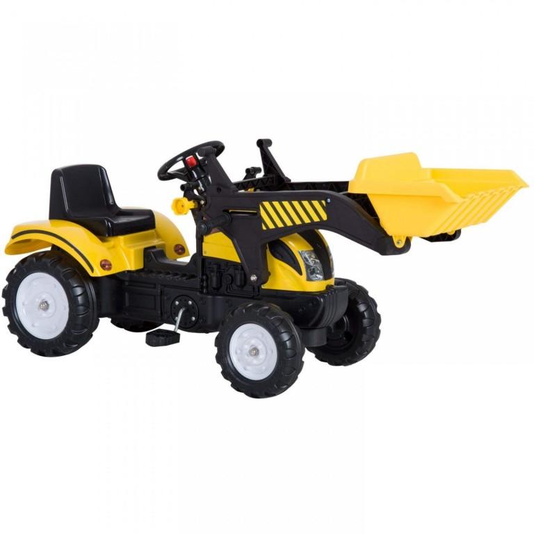 Šlapací traktor s nakladačem | žlutý