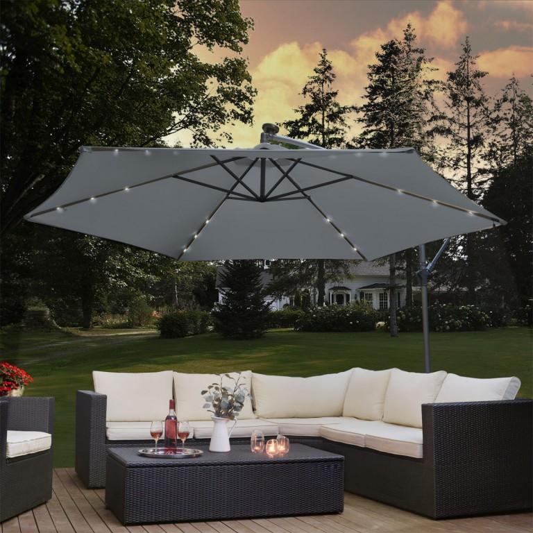 Zahradní slunečník s LED osvětlením, boční nohou a klikou Ø 350 cm | šedý