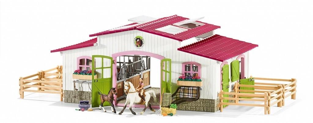 Schleich Schleich 42344 Stáj s koňmi a příslušenstvím v pastelových barvách