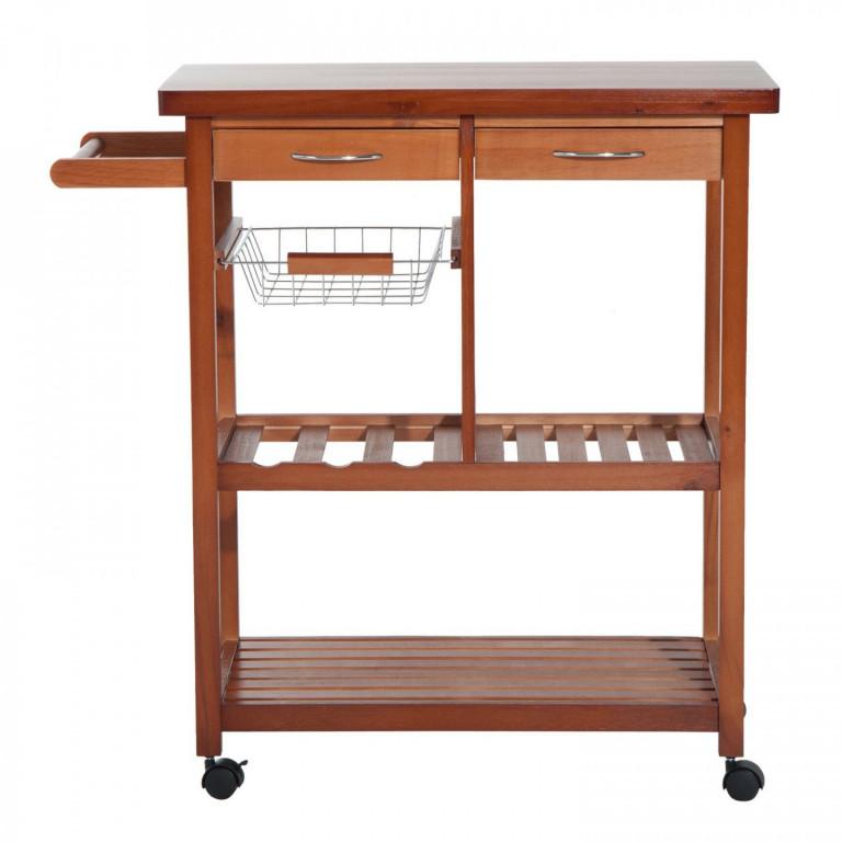 Pojízdná kuchyňská skříňka Leone | hnědá