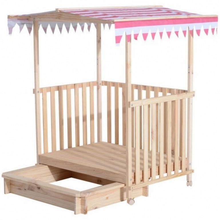 Dětské dřevěné pískoviště se stříškou a krytou verandou růžová/bílá