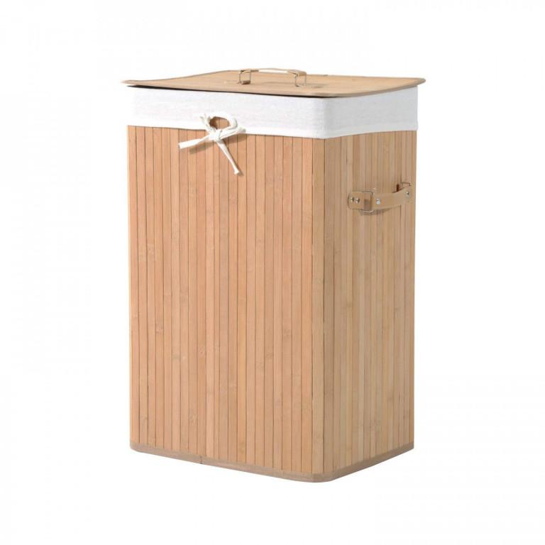 Bambusový koš na prádlo s víkem 72 L   světlý