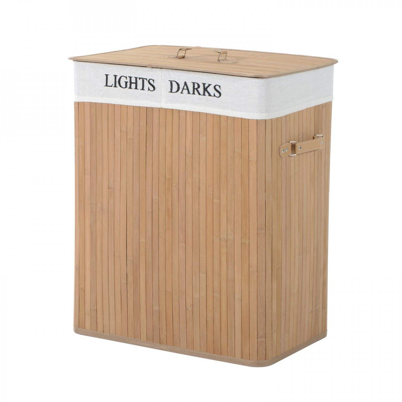 Goleto Bambusový koš na prádlo s víkem 100 L | světlý